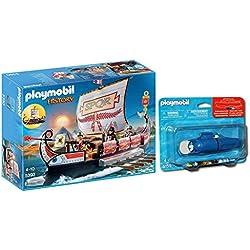 Outletdelocio.. Playmobil 5390. Barco Galera Romana con Motor Submarino Incluido. Navega de Verdad por el Agua