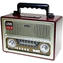 Radio estéreo con Bluetooth y Lector de USB y tarjetas de memoria SD/TF (Funcionamiento a red y pilas) Diseño Retro color Madera y plata (27 x 19 x 12,5 cm)