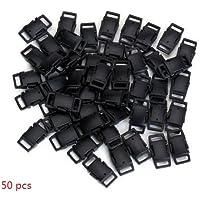HONGCI 50pcs seitliche Freigabe-Plastikmini Schnallen 3/8 Zoll für Paracord Armbänder, Hundehalsband, Gurtband, Bushcraft, Rucksack-Zusätze, Zelt (B Schwarz)