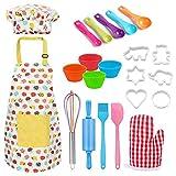 Saicowordist Bakgereedschap-kinderen echt bakken gereedschap set kinderen bakken gereedschap kinderen schort, chef-kok hoed, ovenhandschoenen, garde geschenken voor kinder30 stuk set (geel)