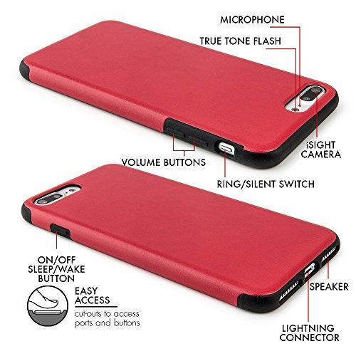 """Case pour iPhone 7 Plus (5,5"""") Coque fine ajustée similicuir PU �?Étui PU similicuir pour Apple iPhone 7 Plus, coque protection avec revêtement «soft feel» blanc de QUADOCTA® - Protection idéale pou rouge"""