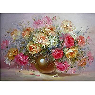Mark8shop DIY Flower Oil Painting By Numbers Digital Oil Drawing Kits Frameless Canvas Wall Decor Gift 40x50cm - cheap UK light store.