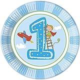 Procos 8 x Erster Geburtstag Jungen Pappteller - Groß 23cm