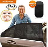 FabQuality Universal Car Sun Shades Cover for Rear Side Window Provides Maximum UV Protection for Baby, and Children with UV Protection for Kids and Pets - BONUS Dashboard Anti Slip Mat