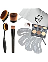 VALUE MAKERS 4 In 1 Pro Cosmetics Set-3 Color Eyebrow Powder-Eye Brows Stencils-Toothbrush Curve Blending Makeup Brushes-Liquid Foundation