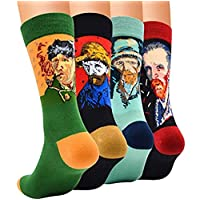 Justay 4/5 Pair of Mens Socks, Colorful Patterned Famous Paintings, Fashion Trend Crew Socks Mens, Cotton EU 39-45, Gift for Men MULTIWAY (4 Pairs-01)