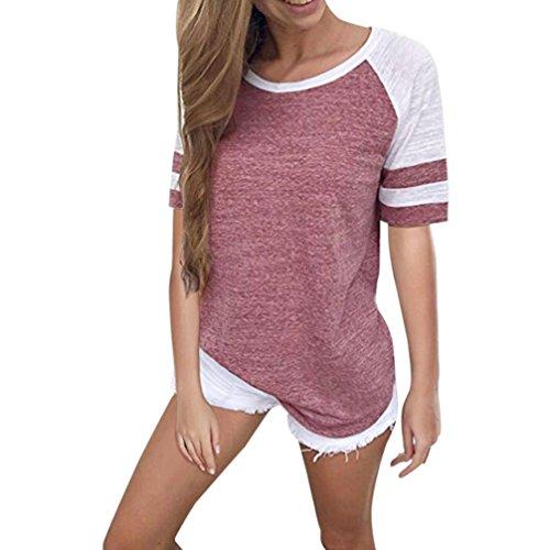Hevoiok Frauen Kurzarm Raglan Shirt Oberteile Bluse Neu Sommer Patchwork Spleißen Hemd Damen Casual Bequem T-Shirt Tops Sweatshirt (Rosa, XL)