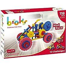 BROKS Mad Race - Juego de construcción con 118 piezas encajables incluidos engranajes de alta calidad para niños y niñas de 4 a 9 años