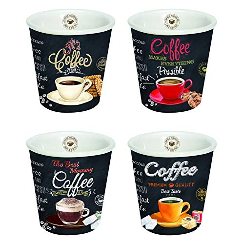 Easy Life 4 Espresso Tassen Set, Porzellan, Mehrfarbig, 12.5 x 12.5 x 7 cm