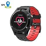 Fitness Tracker, TechCode OLED-Farbbildschirm Fitness Tracker Bluetooth Smart Uhr F5 GPS Smart Band Pulsmesser Höhenmesser Thermometer Schrittzähler Armband mit OLED-Farbbildschirm Aktivitätstracker, Herzfrequenzmonitor, Farbbildschirm Schrittzähler für Android IOS(Rot)