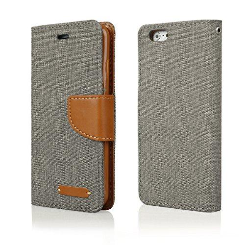 EGO Luxury Bookstyle Handy Tasche mit praktischer Aufstellfuntkion für iPhone 5 / 5s Grün Flip Case Magnetverschluss Book Cover mit Kartenfach Wallet Stand Schutz Hülle Canvas Grau