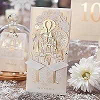 """10x """"boda Fantasia"""" 3d corte láser boda en castillo tarjetas de invitación en color champán, envuelve a juego, Free a juego en blanco Tarjeta de inserción y libre Seal"""
