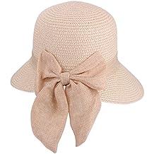 Bowknot Casual Sombrero de Paja para Mujer Verano Sun Beach Sombrero de Paja  UPF 50+ 331576f9a4d