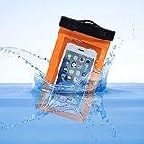 """Wasserdichte Hülle,Asnlove Universal Wasserfeste Tasche bis 5,5 """" für Apple iPhone 6s / 6 / 6s Plus / 6 Plus,Samsung S6 edge/S6/S5 /Note 5/4 mit Tragegurt & Armband (orange)"""