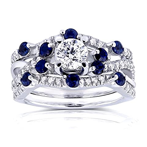 Stunning Her's Platinum Plating 925 Silver 3 Pieces Bridal Engagement/Annivarsery Ring Set By Lilu Jewels With CZ & Sapphire (Q