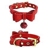 Hmeng Hundehalsband, Hunde Katze Welpen Wasserdichte Niedlich Bowknot Nieten Halsband Halsbänder Verstellbar Leder Schnalle mit Bell Halskette für Haustier Hunden Katzen (S, Rot)