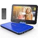 10.5' Tragbarer DVD-Player, 4 Stunden Akku, 1024*600 Digital TFT Schwenkbaren Bildschirm, unterstützt SD-Karte und USB (Blau)
