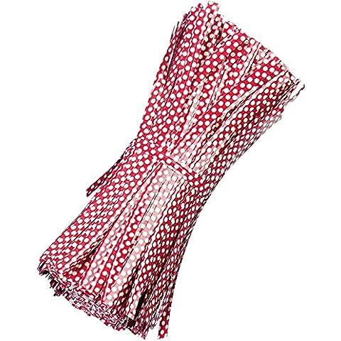 500 Pezzi Riutilizzabili Tondo Dot Stile Borsa Pacchetto Filo Metallico Cravatta Torsione Legami Torsione Metallico per Violoncello Sacchetti di Caramelle Rosso