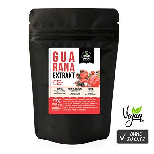Guarana seed 10:1 Extrakt | 240 KAPSELN | 400mg hochdosiertes 10:1 Extrakt | laborgeprüft [siehe Bild] | 10% Guaranaine | naturrein - ohne Zusätze | 100g Extrakt = 1000g Guarana Pulver | wiederverschließbarer Zippbeutel | MHD 08.01.2020 | 100% vegan & in Deutschland abgefüllt