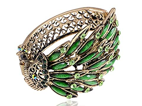 Alilang Antique Golden Tone Green Rhinestones Vintage Inspired Peacock Bird