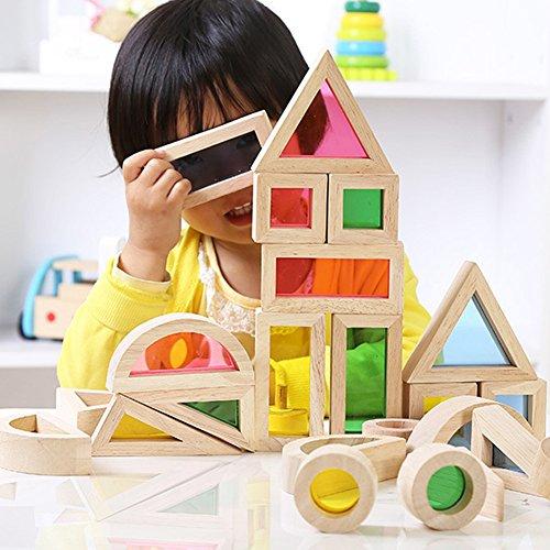 Eleganantimpresionante Bloques de construcción para niños creativos de acrílico Arco Iris Bloques de construcción DIY Puzzle de Madera apilable Torre Juguetes Halloween Bolsas para niños