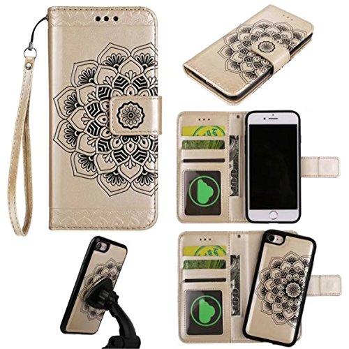 iPhone 7 Hülle, iPhone 7 Brieftasche, Lifetrut Premium Mandala Emboss PU Leder 2 in 1 Wallet Flip Folio Case Magnetische abnehmbare Rückenabdeckung & Handschlaufe für iPhone 7 [Braun] E203-Gold