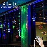 BLOOMWIN Guirnaldas Luminosas Estrellas Cortina Luces 12 Estrellas 3x0.65M con Control Remoto 8 modos 120 LED 5V USB Cadena Luces de Navidad para Balcón, Ventana, Pared, Escaparate, Boda, Fiesta
