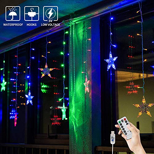 BLOOMWIN Lichtervorhang Stern Lichterkettenvorhang USB 3x0,65M 120LEDs 8Modi Stimmungslichter Weihnachtsbeleuchtung für Fenster Tür Innen Sternenvorhang Bunt