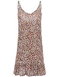Vestidos de Playa Mujer SUNNSEAN Mini Falda Estampado de Flores con Volantes Sexy Lindo Casual Playeros sin Mangas Espalda Abierta Vestidos Cortos de Tirantes Vestido de Verano Vestido Fiestas