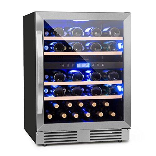 Klarstein Vinovilla Duo43 • Weinkühlschrank • Getränkekühlschrank • 129 Liter • 43 Weinflaschen • 4 Holzeinschübe • Touch-Bediensektion • Innenbeleuchtung in 3 Farben wählbar • 2 Kühlzonen • schwarz