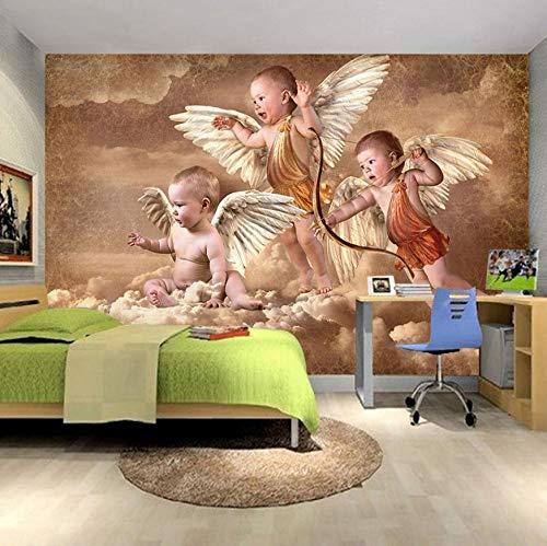 VVNASD 3D Aufkleber Dekorationen Tapete Wandbilder Wand Europäisches Art Wohnzimmer Schlafzimmer Kinderzimmer Hintergrund Dekoration Little Angel Kunst Kinder Küche (W) 300X(H) 210Cm