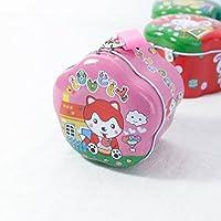 Preisvergleich für Abenily Münzen-Spardose-Geschenkbox Simple Wave Side Spardose Neu Weißblech Aufbewahrungsbox mit Schloss (Pink)