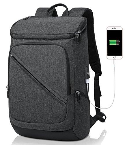 Business Laptop Rucksack 15.6 Zoll, Tocode Anti-Diebstahl-Notebook Rucksack mit USB-Anschluss, leichte Reisetasche Rucksack, große Fach Rucksack für Business School und Outdoor-Sport schwarz (100 Anti-diebstahl-rucksack)