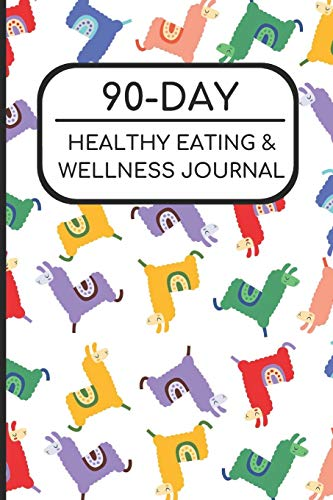 90-Day Healthy Eating and Wellness Journal: Colorful Llama Cover, Workout Fitness Nutrition Weight Loss Planner with Daily Gratitude di Joanna H Peterson Publishing