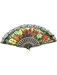 Éventail Ancien avec motif fleuri dentelle et palmette en bakélite vintage fan
