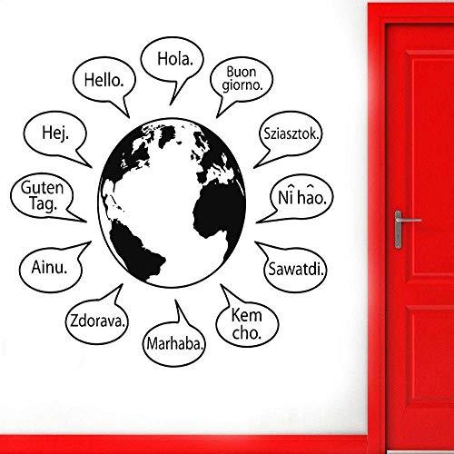 woyaofal Hallo In Verschiedenen Sprachen Schriftzug Wandtattoo Wohnkultur Wohnzimmer Erde Muster Vinyl Kunst Aufkleber Tapete 65X57 cm