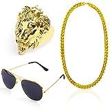 Beelittle Hip Hop Rapper Gangster Kit de disfraces - Celebrity Estilo retro Gafas Collar de cadena de oro Chapado en oro Anillo de Hip Hop - 80s 90s Kit de accesorios (A)