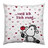 Sheepworld 44498 Baumwoll-Kissen mit Spruch Weil ich dich mag, Geschenk-Kissen, 40 cm x 40 cm