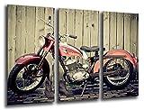 Cuadro Moderno fotografico base madera, 97 x 62 cm, Moto Vintage, Harley Davidson ref. 26107