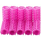 BoldnYoung 10 Plastic 25 mm Hairdressing Roller Curlers Clips for Girls & Women , Pink