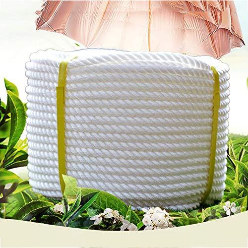 WYX Corde d'escalade Corde de Nylon Blanc Corde de polypropylène 10mm 10mm résistant à l'usure Corde de Corde Corde extérieure en Plein air (Couleur : Blanc, Taille : Diameter 10 mm/20M)