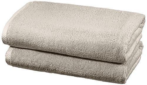AmazonBasics - Handtuch-Set, schnelltrocknend, 2 Badetücher - Platingrau, 100% Baumwolle