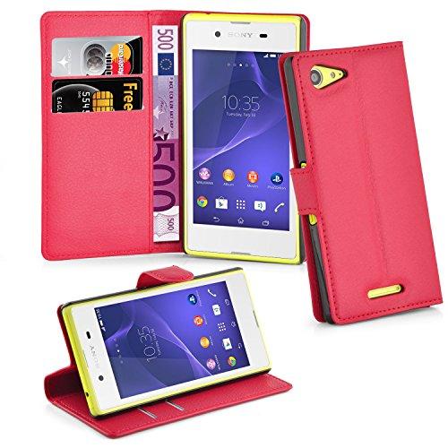 Cadorabo Hülle für Sony Xperia E3 Hülle in Karmin Rot Handyhülle mit Kartenfach und Standfunktion Case Cover Schutzhülle Etui Tasche Book Klapp Style Karmin-Rot