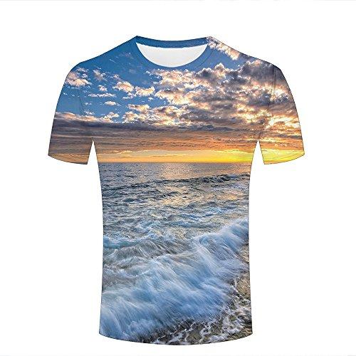 Herren Crewneck 3D Print T-Shirt Splendid Clouds Cover Ocean Creative Graphic Short Sleeve Tee Top Shirts M Damen-cloud-cover-rock