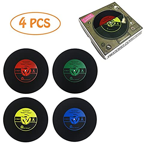 Dooppa Pack Of 4 Retro CD Record Coffee Drink Cup Mat Coasters Chic Silicone Tableware