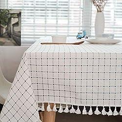Meiosuns Mantel Mantel de Mesa Manteles de Cuadros Blancos y Azules Estilo mediterráneo Manteles de algodón y borlas Frescos y artísticos Manteles rectangulares de Mesa de café Manteles(90 * 90cm)