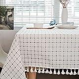 Meiosuns Tischdecke Tischdecke Stoff Karierte Tischdecken im mediterranen Stil Frische und kunstvolle Tischdecken aus Baumwolle und Quasten Rechteckige Couchtisch Tischdecken (120 × 120cm)