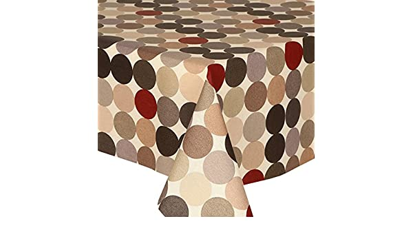 PVC TABLE CLOTH SPHERE NATURAL FUNKY CIRCLES CREAM BLACK SILVER WIPE ABLE COVER