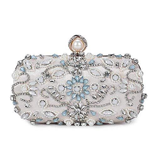 NaiCasy Frauen Perle wulstigen Strass Abend Kupplungen Hochzeit Handtasche Beige - Strass Beige Handtasche