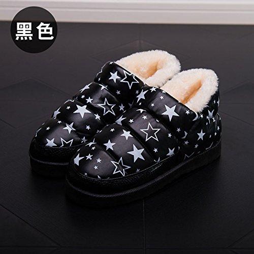 Inverno fankou borsa nera con cotone pantofole home home e al di fuori di uomini e donne giovane caldo - non slip di cotone impermeabile scarpe 8508 Rosa